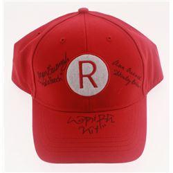 """Megan Cavanagh, Lori Petty  Ann Cusack Signed """"A League of Their Own"""" Rockford Peaches Snapback Base"""