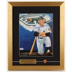Mickey Mantle Signed New York Yankees 15x18 Custom Framed Print Display with Yankees Pin (PSA LOA)