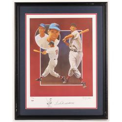 Ted Williams Signed Boston Red Sox 23.5x30 Custom Framed Lithograph (PSA Hologram)