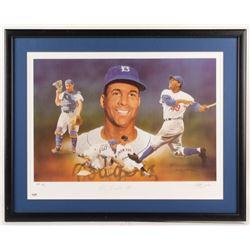 Roy Campanella Signed LE Brooklyn Dodgers 23.5x30 Custom Framed Lithograph Display (PSA Hologram)