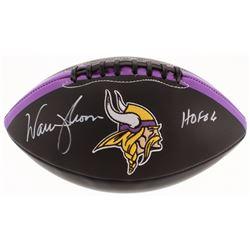 """Warren Moon Signed Minnesota Vikings Logo Football Inscribed """"HOF 06"""" (TSE COA)"""