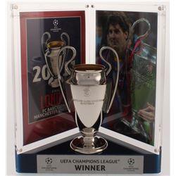 "Lionel ""Leo"" Messi Signed Barcelona 2011 UEFA Replica Trophy Display (Icons COA)"