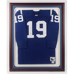 Johnny Unitas Signed 32.5x40.75 Custom Framed NFL Throwbacks Baltimore Colts Jersey Display (JSA LOA