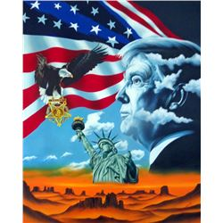 """Hector Monroy Signed """"Donald Trump """" 30x40 Original Oil Painting on Canvas (PA LOA)"""