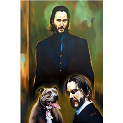 """Hector Monroy Signed """"Keanu Reeves"""" 27x40 Original Oil Painting on Canvas (PA LOA)"""