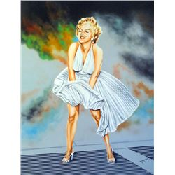 """Hector Monroy Signed """"Marilyn Monroe"""" 30x39 Original Oil Painting on Canvas (PA LOA)"""