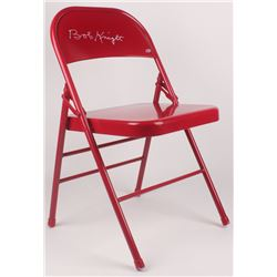 Bobby Knight Signed Red Metal Folding Chair (Beckett COA)