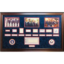 """""""United States Presidents"""" 28x44 Custom Framed Cut Display Signed by (9) with Ronald Reagan, Richard"""