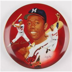 Hank Aaron Signed Atlanta Braves Porcelain Plate (Hackett Authentic)