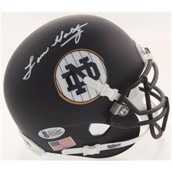 Lou Holtz Signed Notre Dame Fighting Irish Matte Navy Mini Helmet (Beckett COA  Fanatics Hologram)