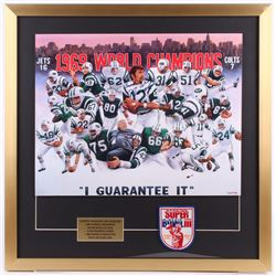 "Joe Namath Signed New York Jets 26x26 Custom Framed Print Display Inscribed ""Broadway"" with Super Bo"