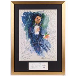 "LeRoy Neiman Signed ""Frank Sinatra"" Vintage Print 21x28.5 Custom Framed Cut Display (PSA COA)"