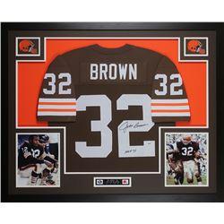 "Jim Brown Signed 35x43 Custom Framed Jersey Inscribed ""HOF 71"" (PSA COA)"