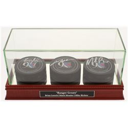 Mark Messier, Brian Leetch,  Mike Richter Signed New York Rangers 90th Anniversary Logo Hockey Pucks
