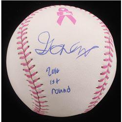 "Gavin Lux Signed Breast Cancer Awareness OML Baseball Inscribed ""2016 1st Round"" (PSA Hologram)"