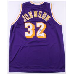 "Magic Johnson Signed Jersey Inscribed ""HOF 02"" (PSA COA)"