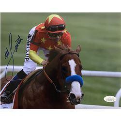 Mike E. Smith Signed Belmont Stakes 8x10 Photo (JSA COA)