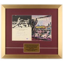 "Joe DiMaggio Signed 16x18 Custom Framed Vintage DiMaggio Restaurant Menu Display Inscribed ""Best Wis"