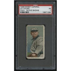 1910 Sweet Caporal Cleveland Glove Shows T206 #25 Cy Young (PSA 1)
