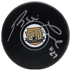 Reggie Leach Signed Philadelphia Flyers 50th Anniversary Logo Hockey Puck (JSA COA)