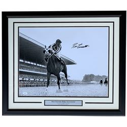 Ron Turcotte Signed 1973 Belmont Stakes 22x27 Custom Framed Photo Display (JSA COA)