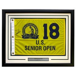 Arnold Palmer Signed US Senior Open 22x27 Custom Framed Golf Pin Flag Display (Beckett LOA)