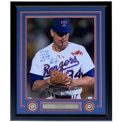 "Nolan Ryan Signed Texas Rangers 22x27 Custom Framed Photo Display Inscribed ""324 Win"", ""5,714 K's, """
