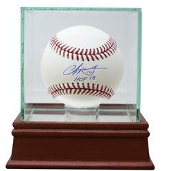 "Chipper Jones Signed OML Baseball Inscribed ""HOF 18"" with Display Case (JSA COA)"