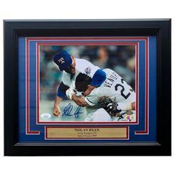 Nolan Ryan Signed Texas Rangers 11x14 Custom Framed Photo Display (JSA COA, Ryan Hologram  AIV Holog