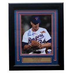 Nolan Ryan Signed Texas Rangers 11x14 Custom Framed Photo (JSA COA  Ryan Hologram  AIV Hologram)
