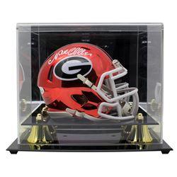 Nick Chubb Signed Georgia Bulldogs Chrome Speed Mini Helmet with Display Case (JSA COA)