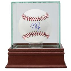 Mike Trout Signed OML Baseball with Glass Display Case (MLB Hologram)