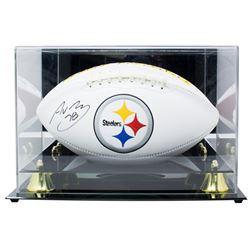 Alejandro Villanueva Signed Pittsburgh Steelers Logo Football with Display Case (SI COA)