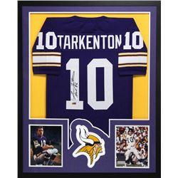 """Fran Tarkenton Signed Vikings 34x42 Custom Framed Jersey Inscribed """"HOF 86"""" (Radtke COA)"""