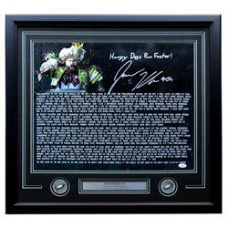 """Jason Kelce Signed Philadelphia Eagles """"Super Bowl 52 Speech"""" 22x27 Custom Framed Photo Inscribed """"H"""
