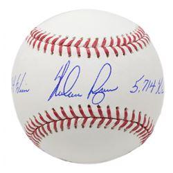 """Nolan Ryan Signed OML Baseball Inscribed """"324 Wins""""  """"5,714 K's"""" (JSA COA, Ryan Hologram  AIV Hologr"""