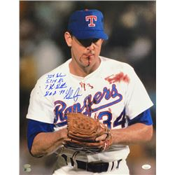 "Nolan Ryan Signed Texas Rangers 16x20 Photo Inscribed ""324 Wins"", ""5,714 K's"", ""7 No-Hitter""  ""H.O.G"