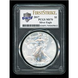 2017 American Silver Eagle $1 One Dollar Coin - First Strike, U.S. Mint 225 Years Label (PCGS MS70