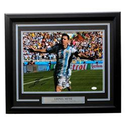 "Lionel Messi Signed Argentina 19x22 Custom Framed Photo Display Inscribed ""Leo"" (Icons COA  JSA COA)"