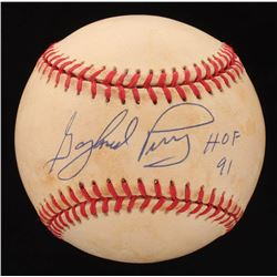 "Gaylord Perry Signed ONL Baseball Inscribed ""HOF 91"" (Beckett COA)"