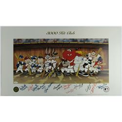 "LE 3,000 Hit Club ""Looney Tunes"" 18x32 Lithograph Signed by (12) with Hank Aaron, Willie Mays, Pete"