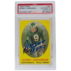 """Sonny Jurgensen Signed 1958 Topps #90 RC Inscribed """"HOF 83"""" (PSA Encapsulated)"""