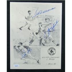 Ted Williams, Carl Yastrzemski,  Wade Boggs Signed Boston Red Sox 8.5x11 Print (JSA LOA)