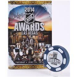 Patrice Bergeron Signed 2014 Las Vegas NHL Awards Logo Hockey Puck  Program (Bergeron COA)