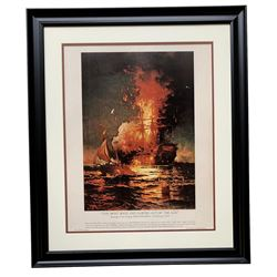 """U.S. Navy """"The Most Bold  Daring Act of the Age"""" 22x27 Custom Framed Lithograph Display"""