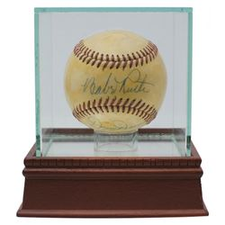 Babe Ruth  Dizzy Dean Signed OAL Baseball with High-Quality Display Case (PSA LOA)