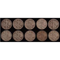 Lot of (10) 1943 Walking Liberty Silver Half Dollars