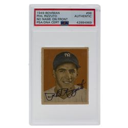 Phil Rizzuto Signed 1949 Bowman #98A NNOF (PSA Encapsulated)