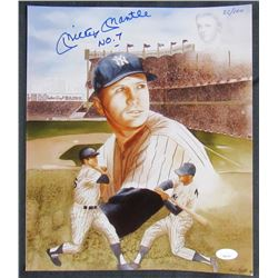 """Mickey Mantle Signed LE New York Yankees 10x12 Print Inscribed """"No. 7"""" (JSA LOA)"""