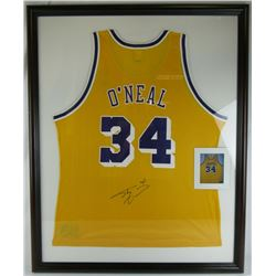 Shaquille O'Neal Signed Los Angeles Lakers 35x43 Custom Framed Champion Jersey Display (JSA COA)